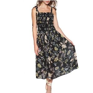 FREE PEOPLE Black Floral Print Isla Midi Dress